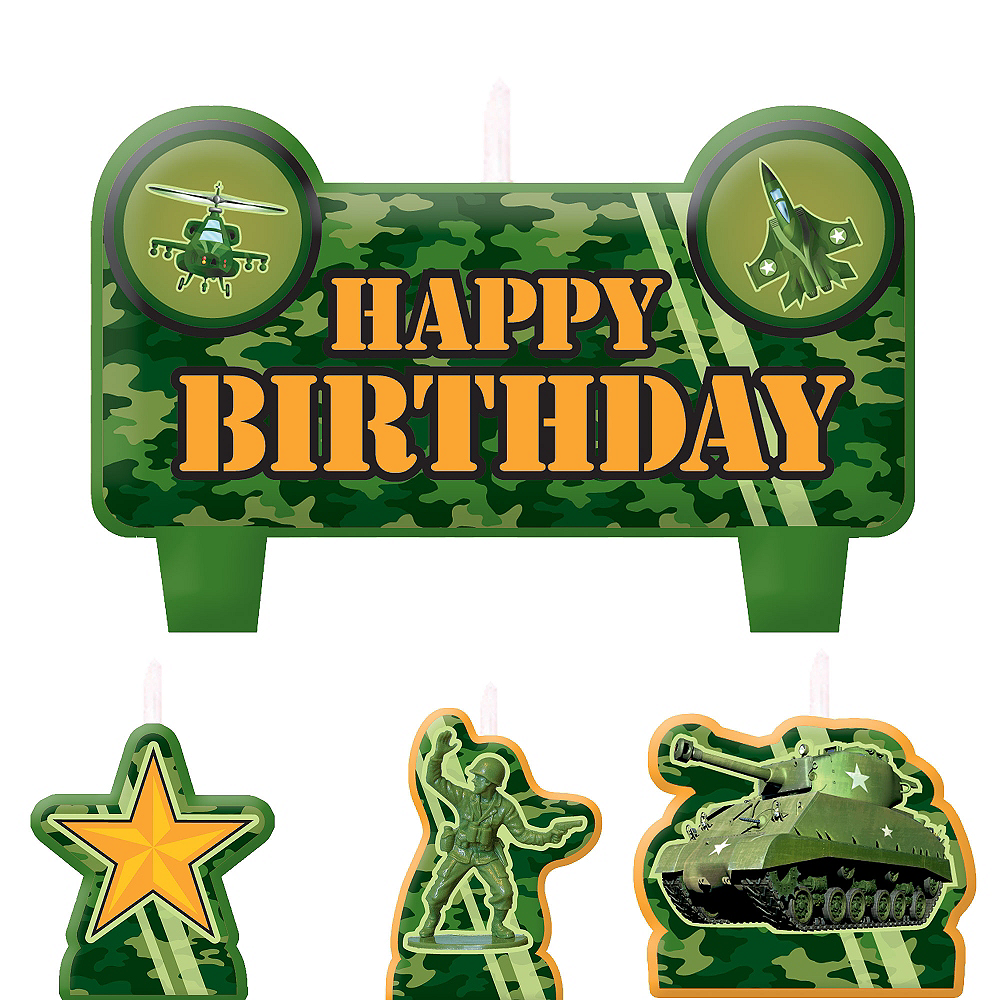 Camouflage Birthday Candles 4ct Image #1