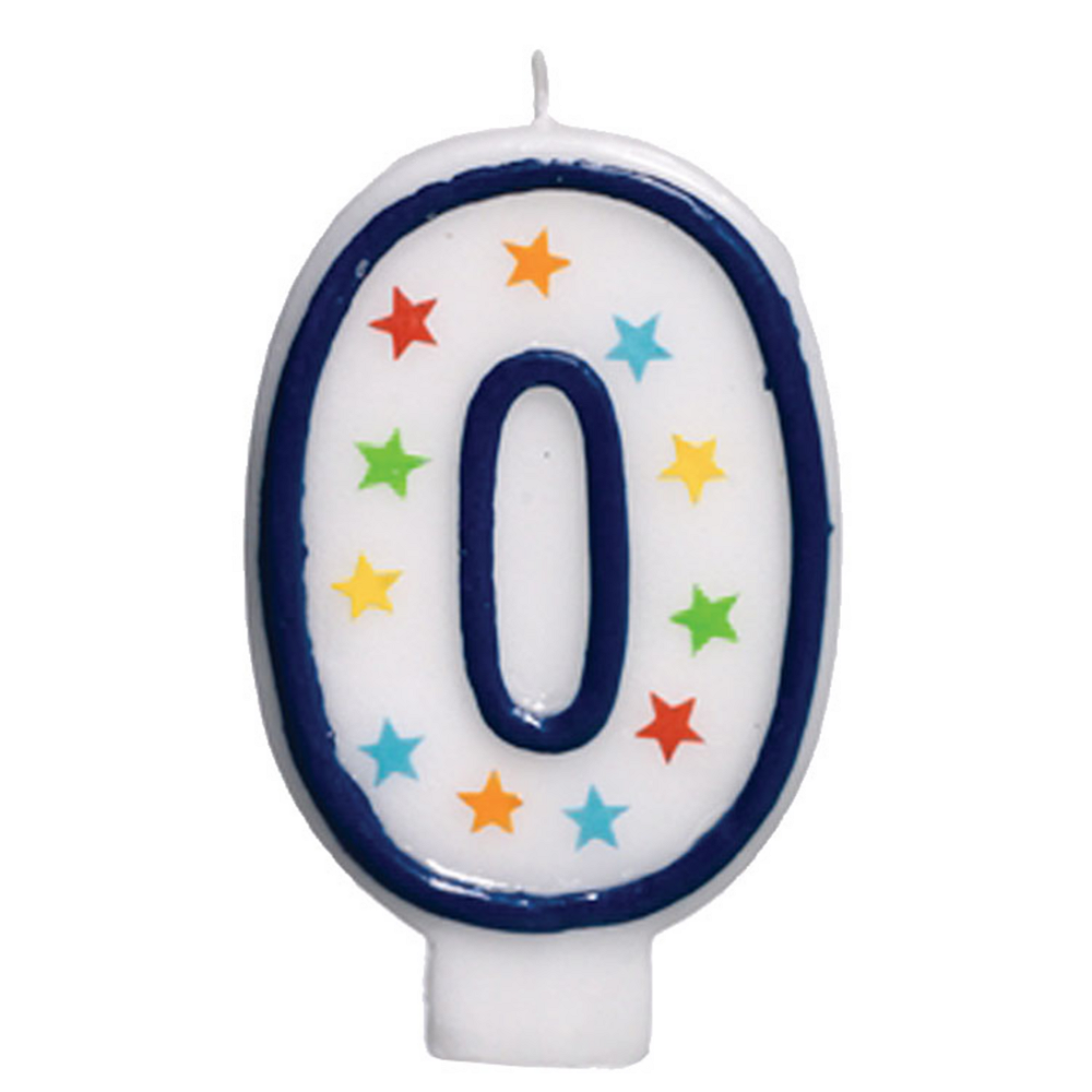 Glitter Blue Outline Number 0 Birthday Candle Image #1