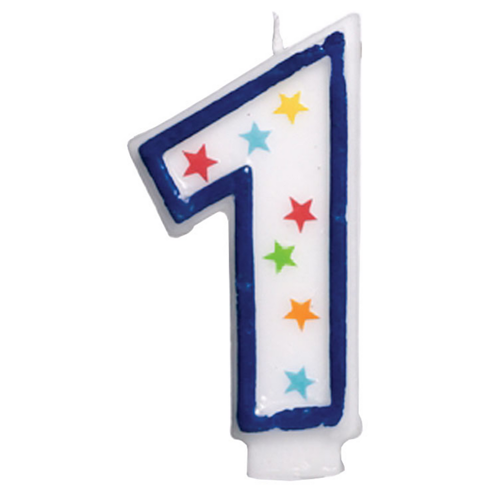 Glitter Blue Outline Number 1 Birthday Candle Image #1