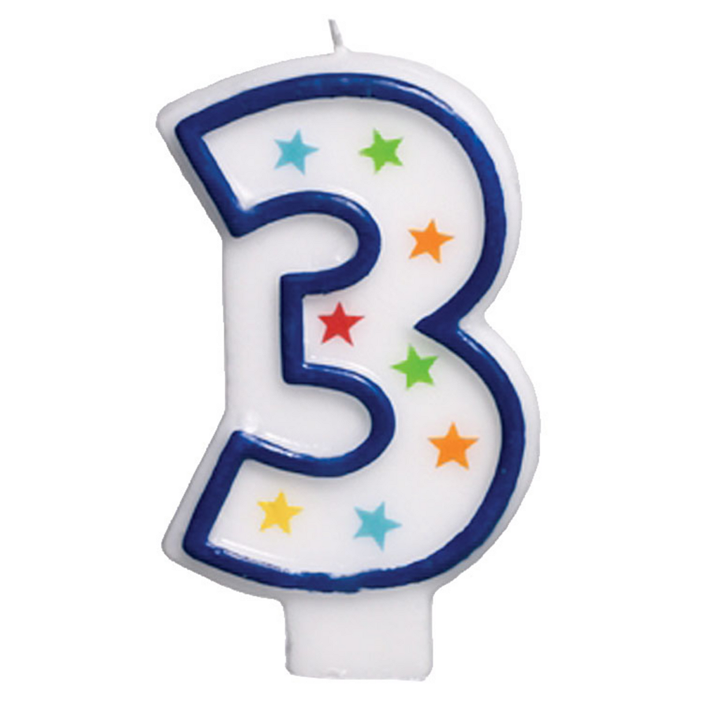 Glitter Blue Outline Number 3 Birthday Candle Image #1