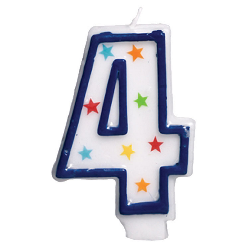 Glitter Blue Outline Number 4 Birthday Candle Image #1