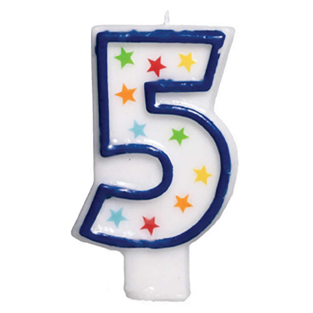 Glitter Blue Outline Number 5 Birthday Candle Image #1