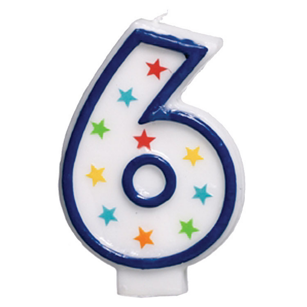 Glitter Blue Outline Number 6 Birthday Candle Image #1