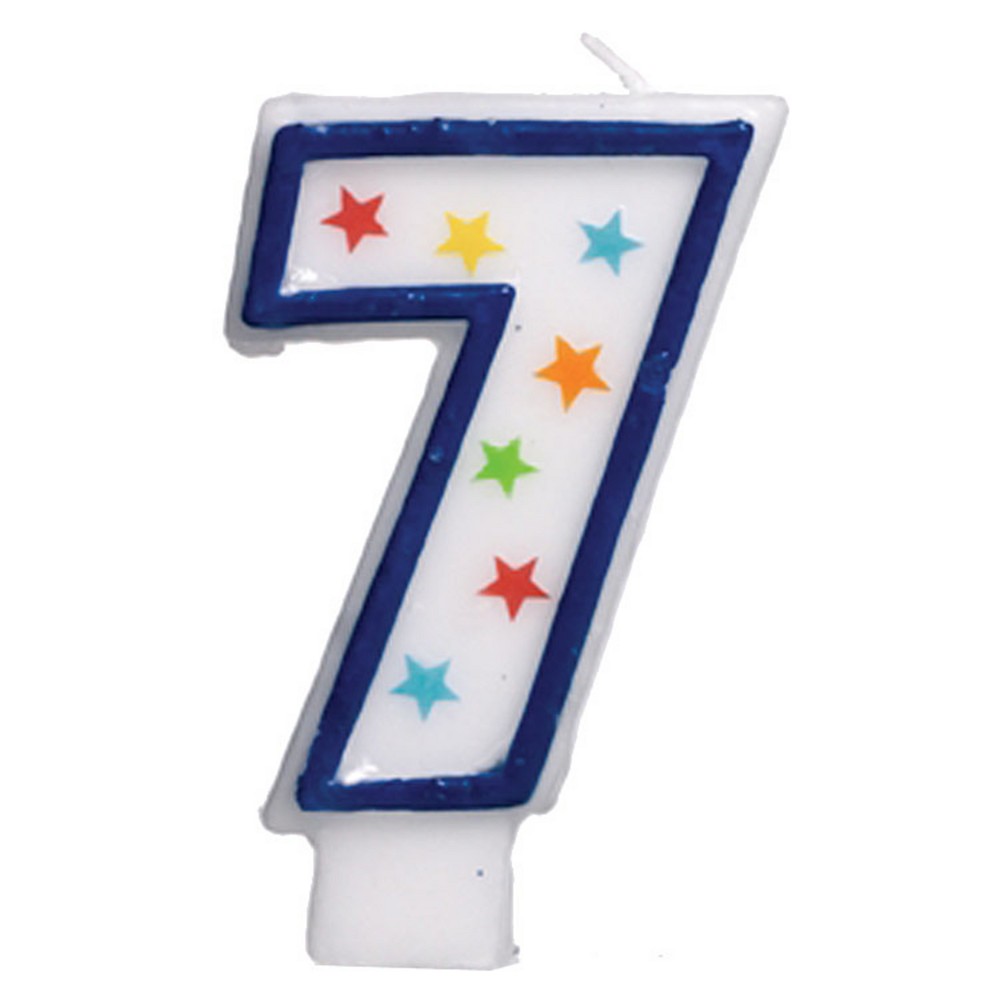 Glitter Blue Outline Number 7 Birthday Candle