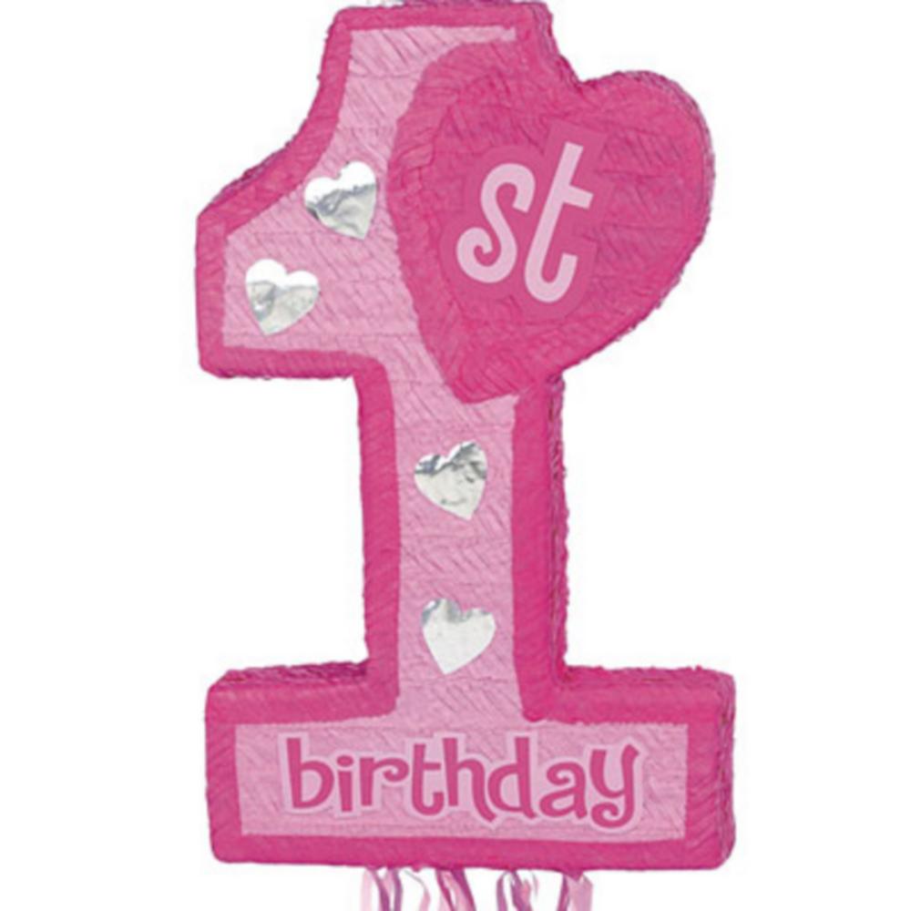 Pull String Pink 1st Birthday Pinata Image #1