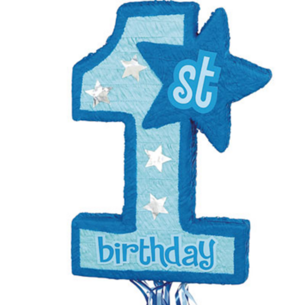 Pull String Blue 1st Birthday Pinata Image #1