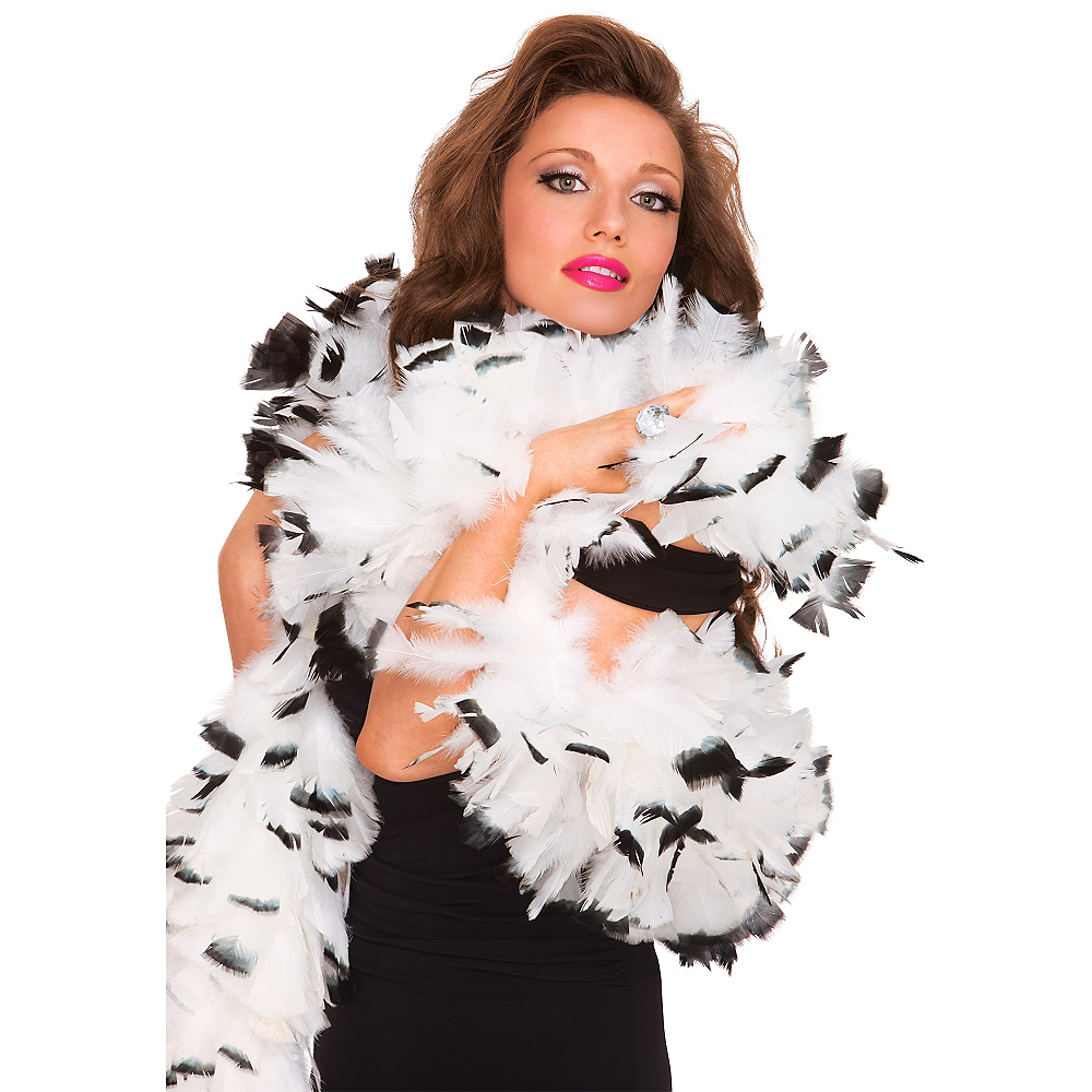 Black & White Feather Boa Deluxe 72in Image #2
