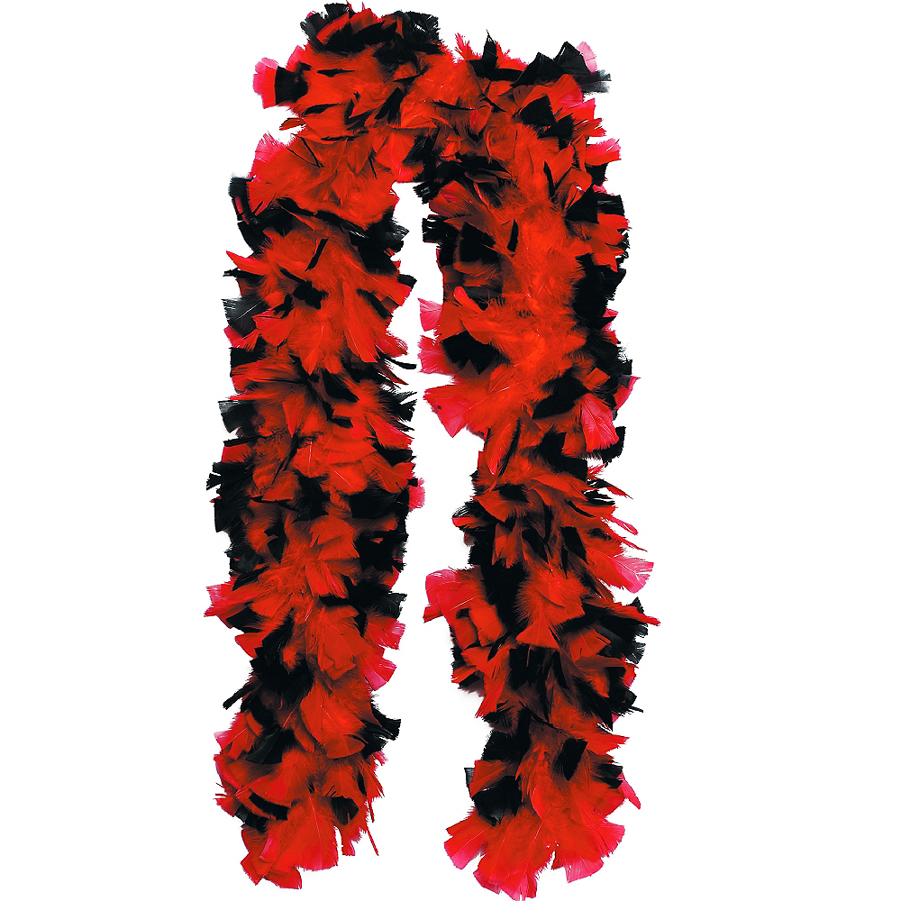 Red & Black Feather Boa Deluxe 72in Image #1