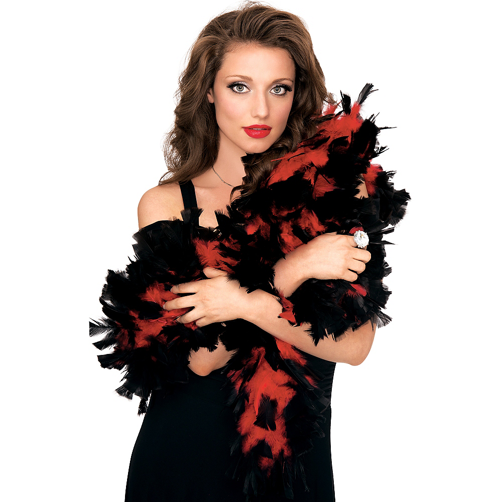 Red & Black Feather Boa Deluxe 72in Image #2