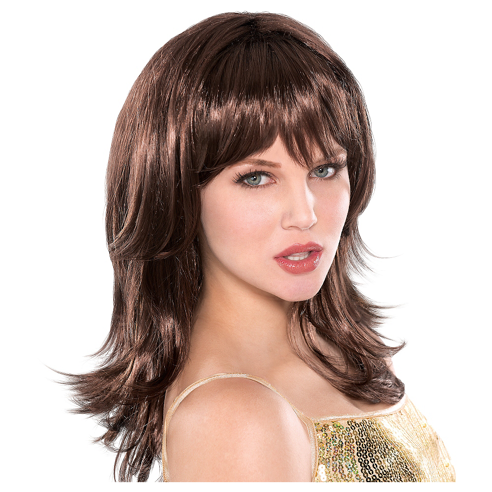 Flirty Feathered Brown Wig Image #1