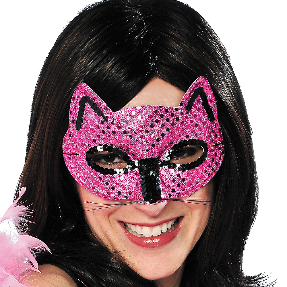 Pink Sequin Cat Mask Image #2