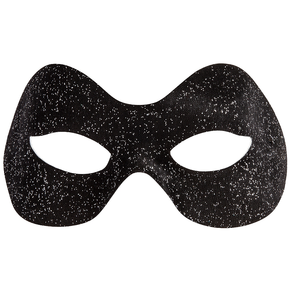 Glitter Black Domino Mask Image #1