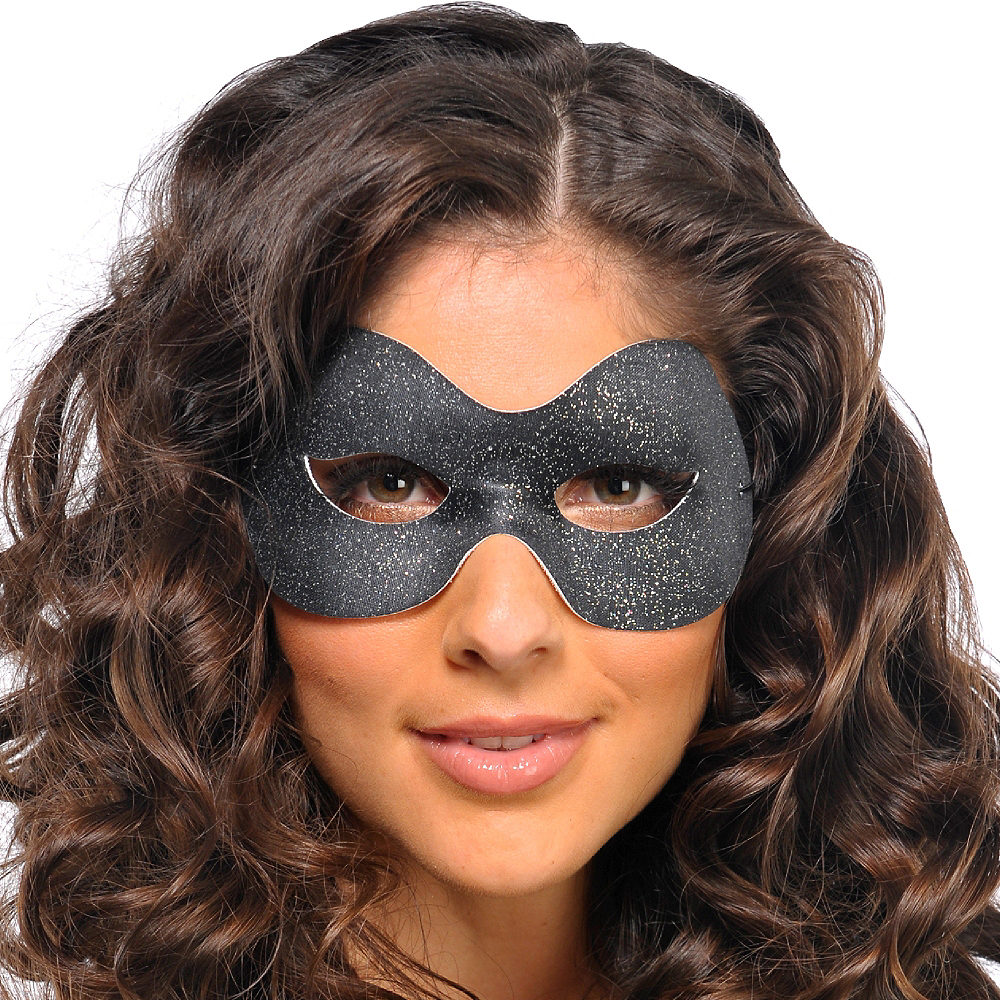 Glitter Black Domino Mask Image #2