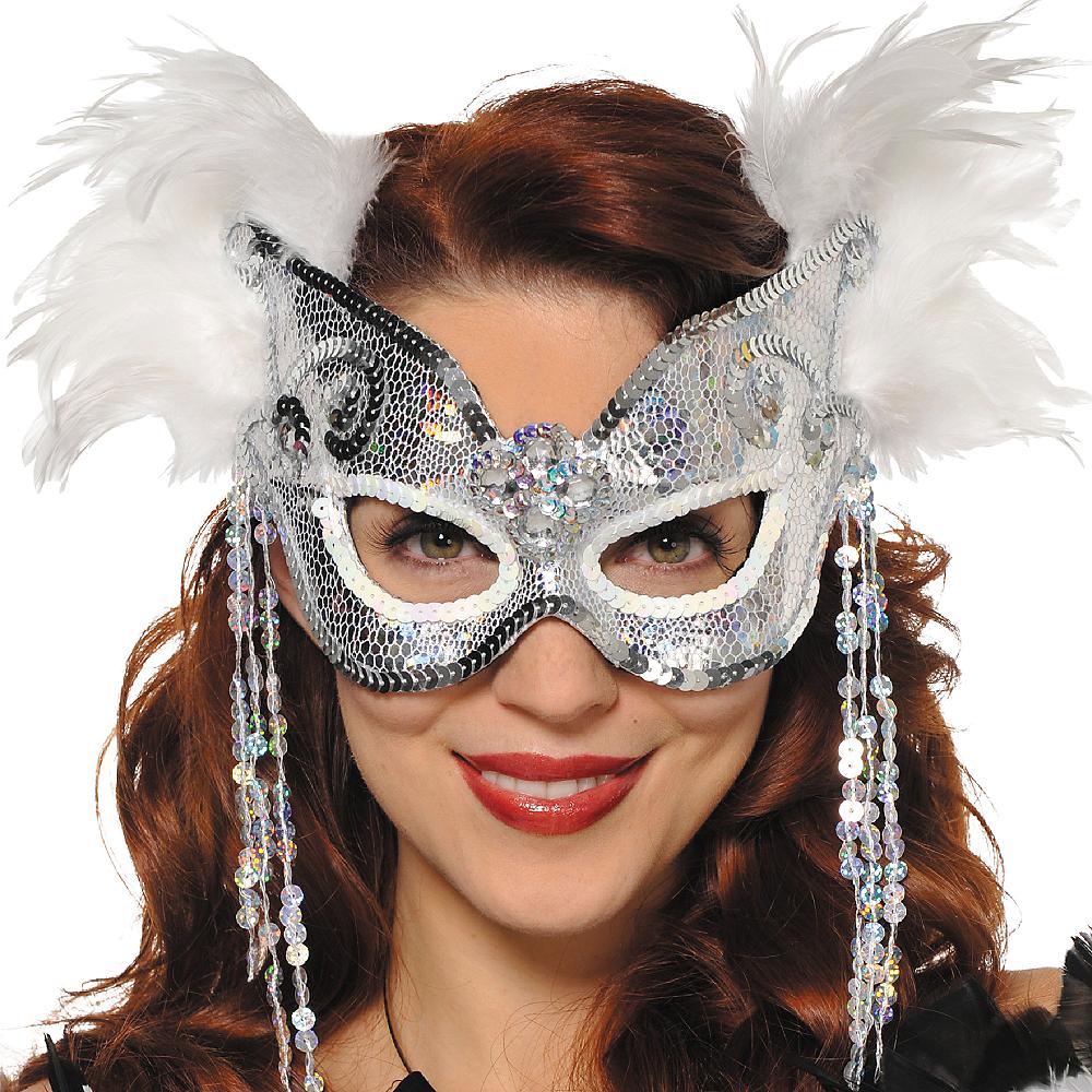 Snowflake Venetian Feather Mask Image #2