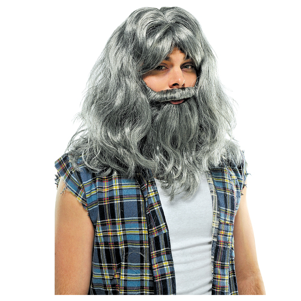 Nav Item for Silver Old Man Wig & Beard Deluxe Set Image #1