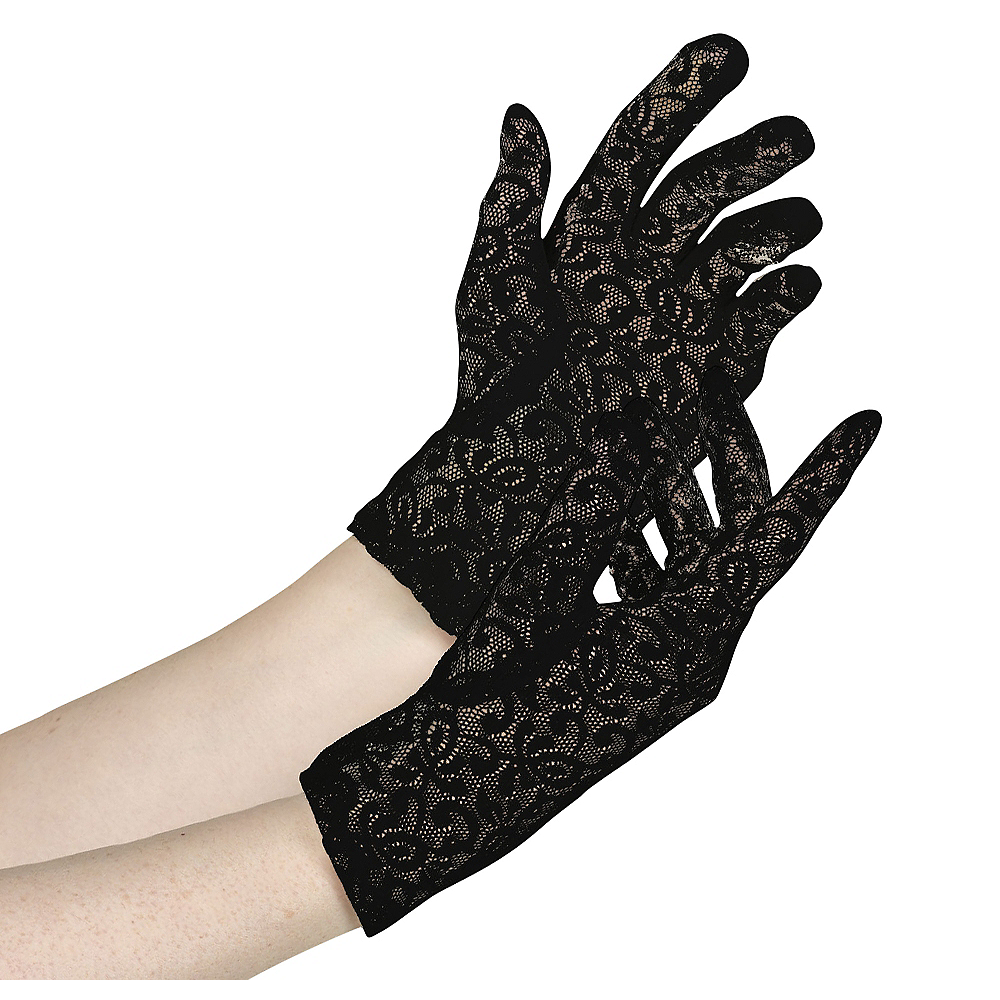 Womens Black Lace Gloves Image #1