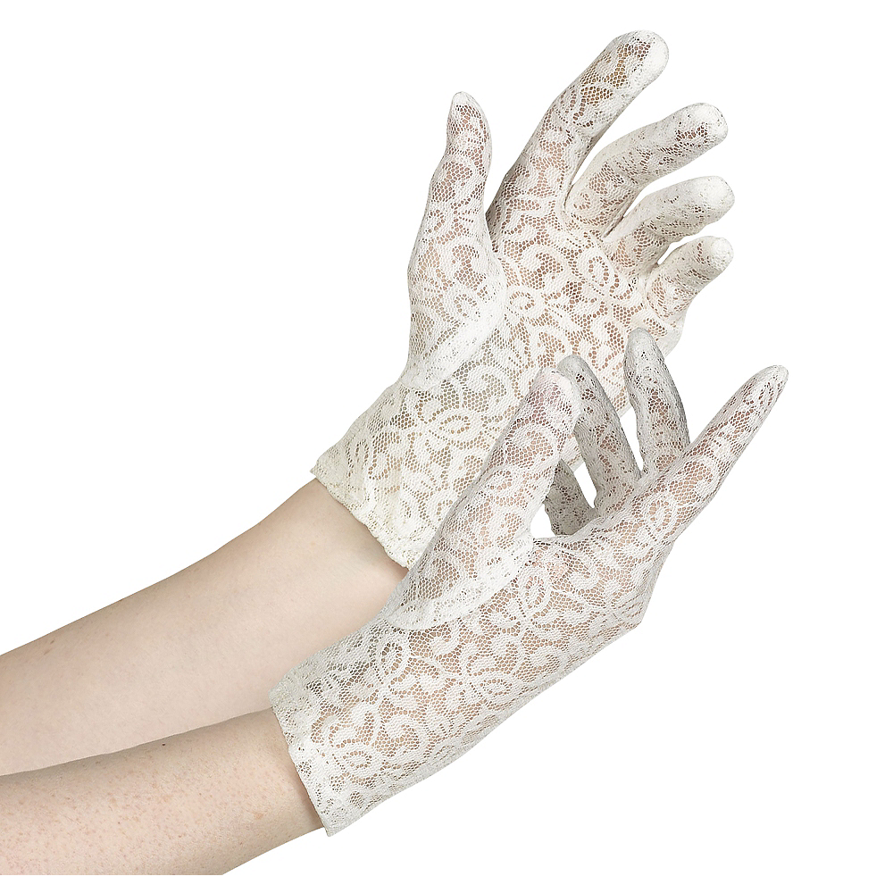 Womens White Lace Gloves Image #1