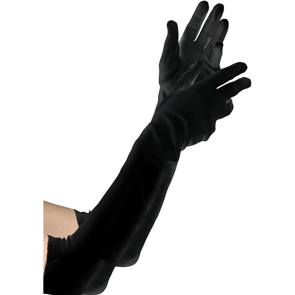 Extra Long Black Velvet Gloves Image #1