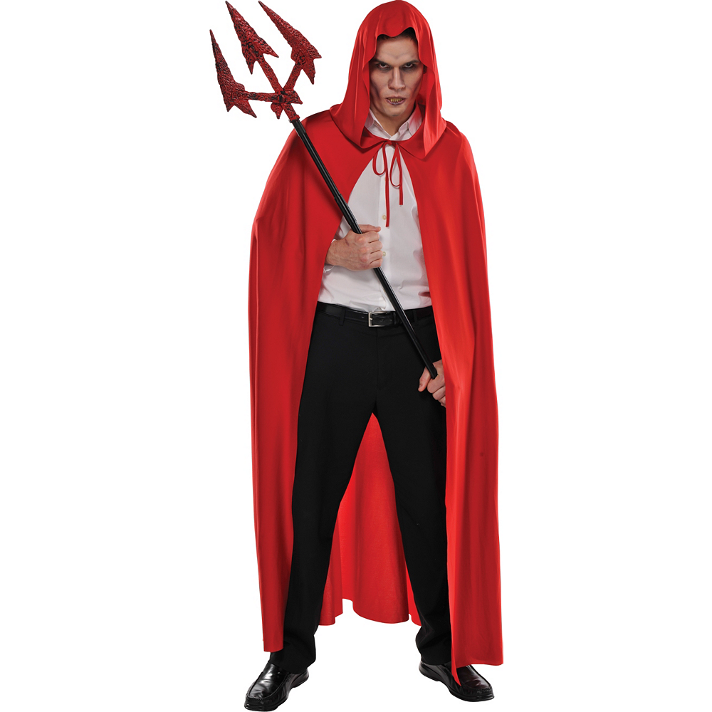 Adult Red Hooded Cape Image #2
