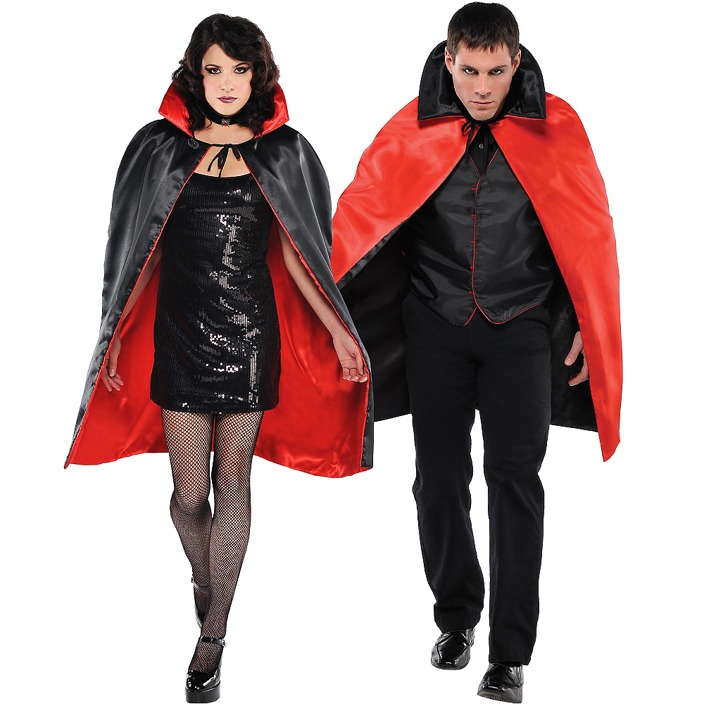 Adult Black & Red Reversible Vampire Cape Image #1