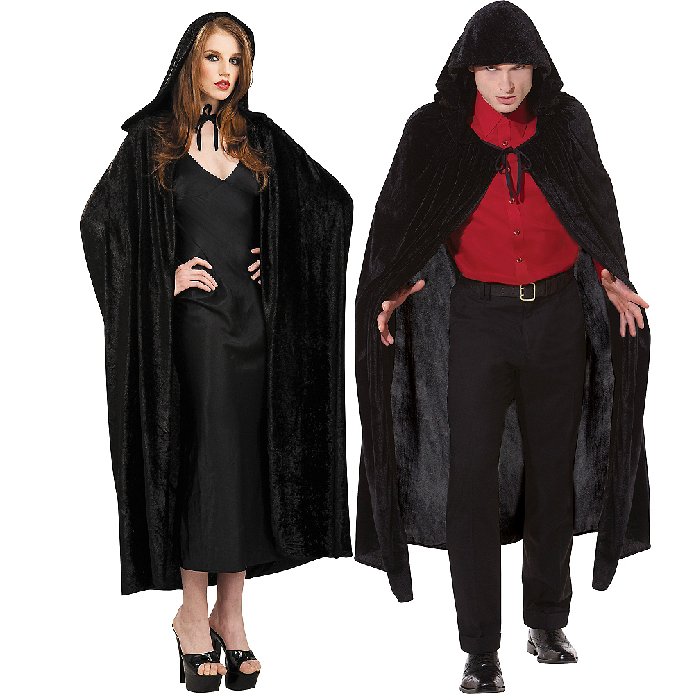 Adult Crushed Velvet Hooded Cloak Deluxe Image #1
