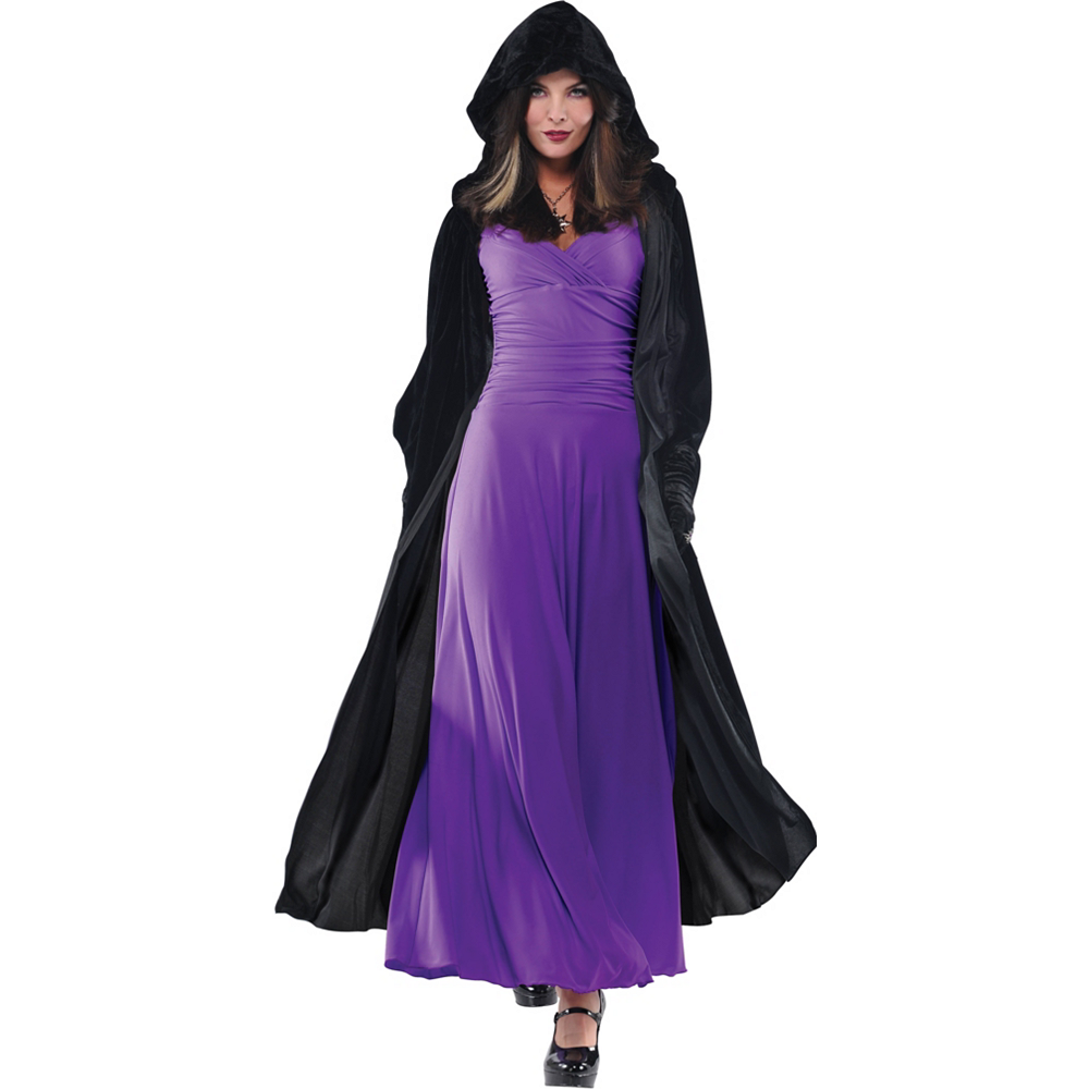 Adult Crushed Velvet Hooded Cloak Deluxe | Party City