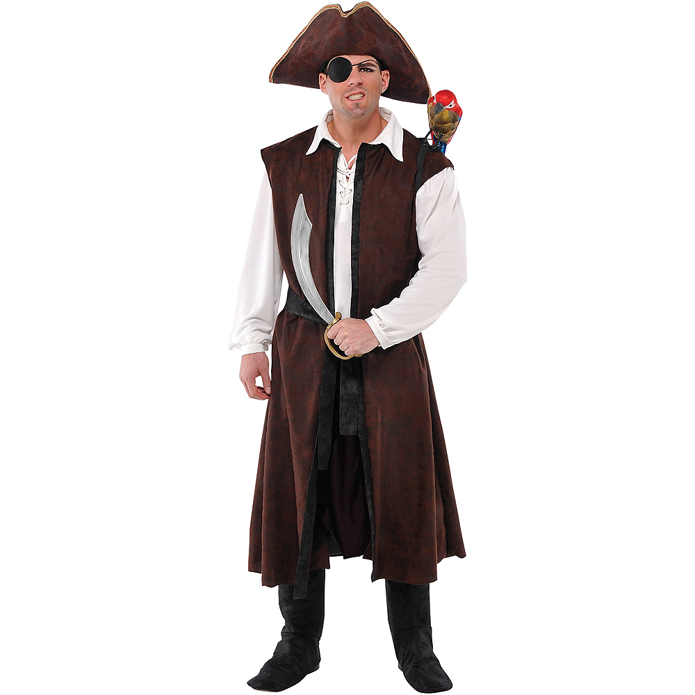 Adult Long Brown Pirate Vest Image #1