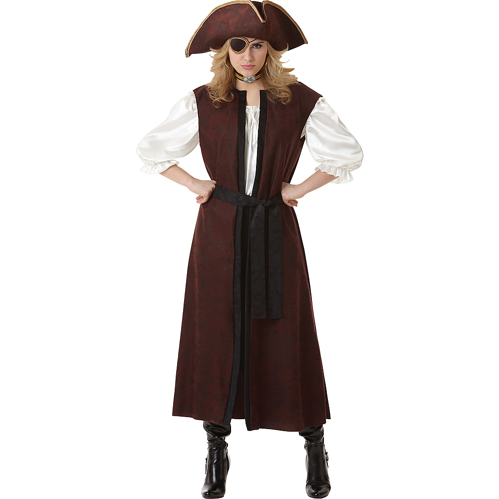 Adult Long Brown Pirate Vest Image #2