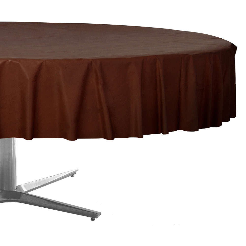 Chocolate Brown Plastic Round Table Cover Image #1