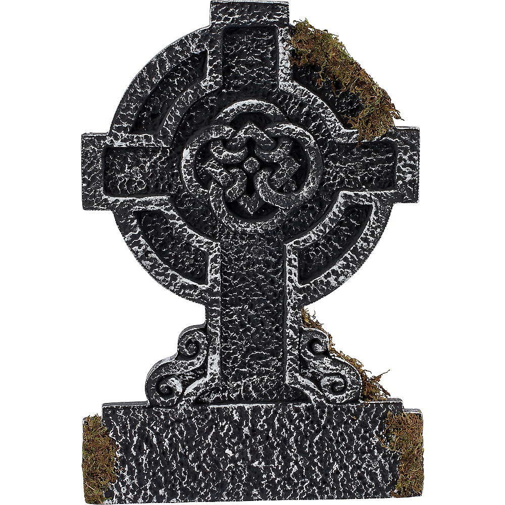 Nav Item for Mossy Celtic Cross Tombstone Decoration Image #2