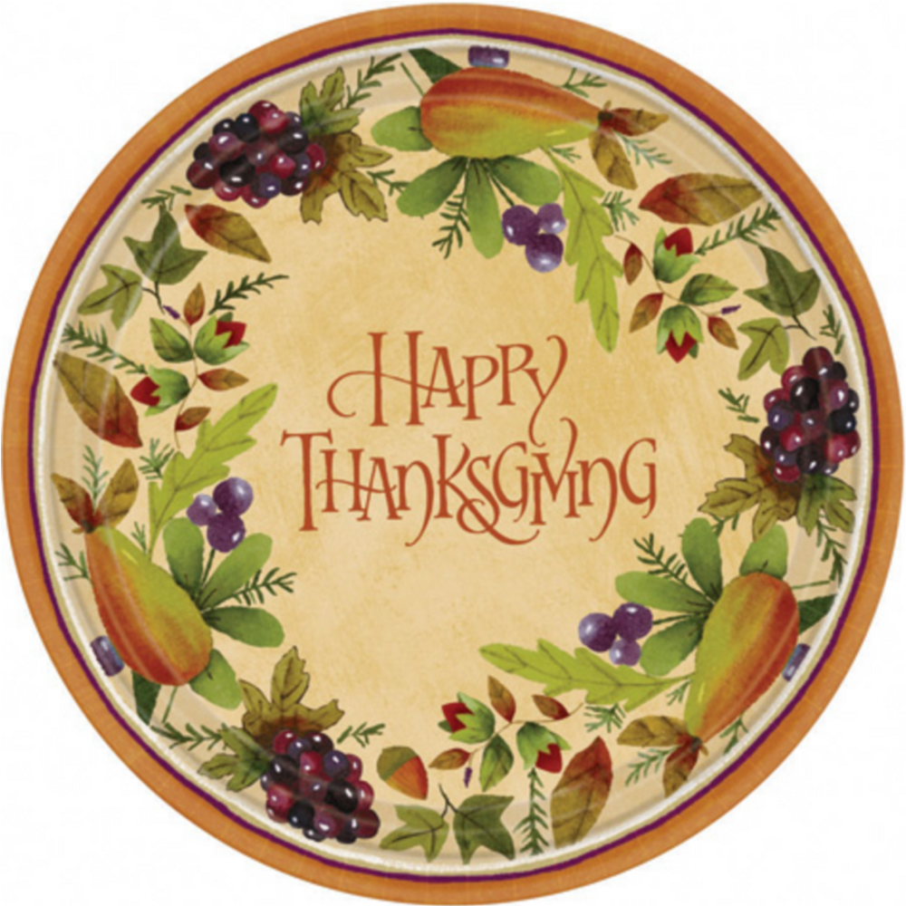 Thanksgiving Medley Dessert Plates 8ct Image #1