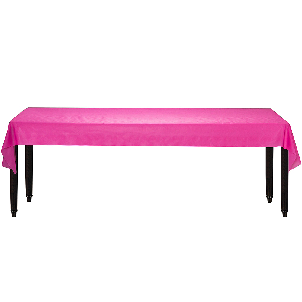 Bright Pink Plastic Table Cover Roll Image #2