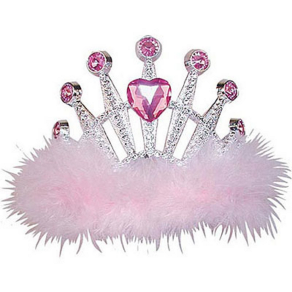 Pink Marabou Heart Gem Tiara Image #1