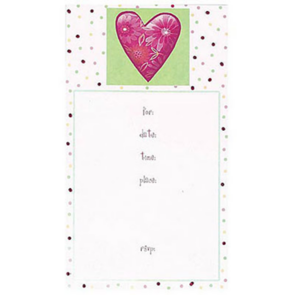 calico heart fill in party invitations 8ct birthday invitations