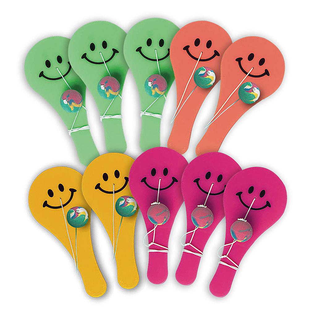 Smiley Paddle Balls 10ct Image #1