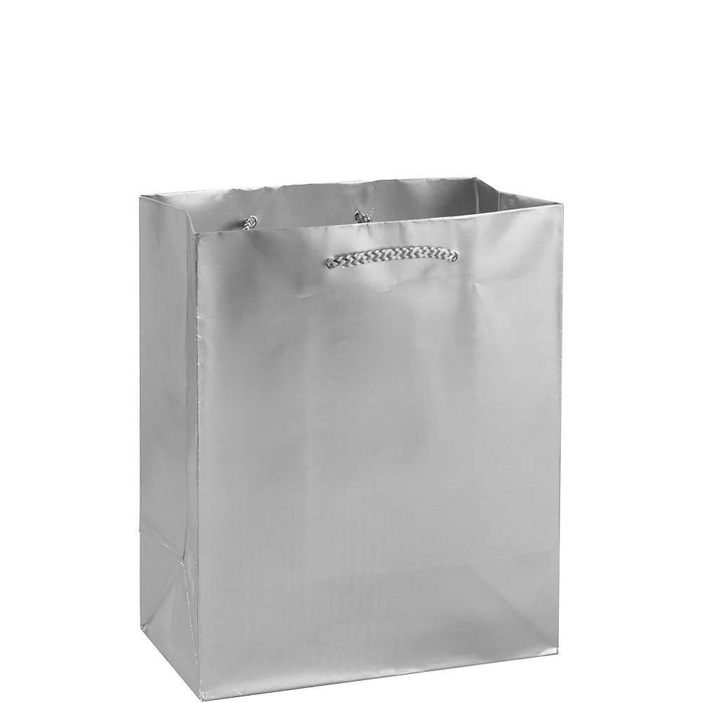 Medium Glossy Silver Gift Bag Image #1