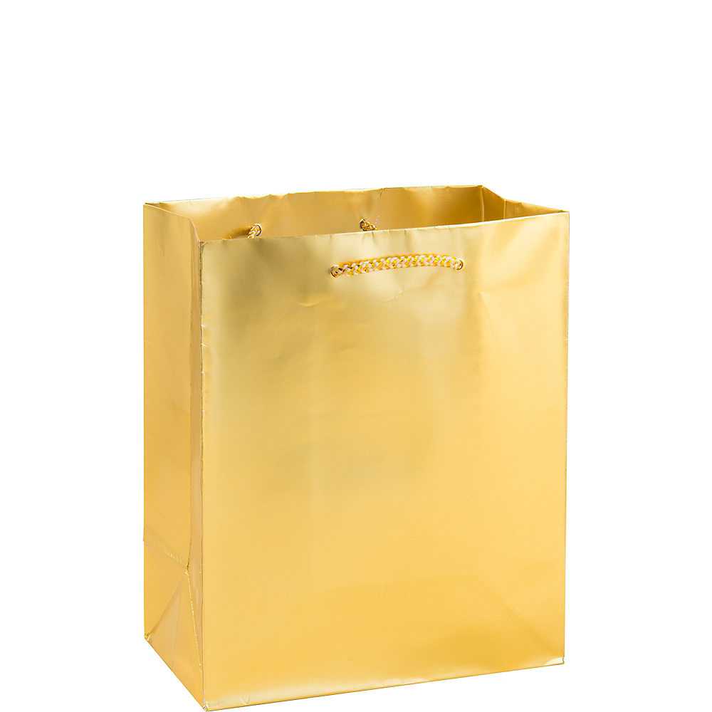 Medium Glossy Gold Gift Bag Image #1