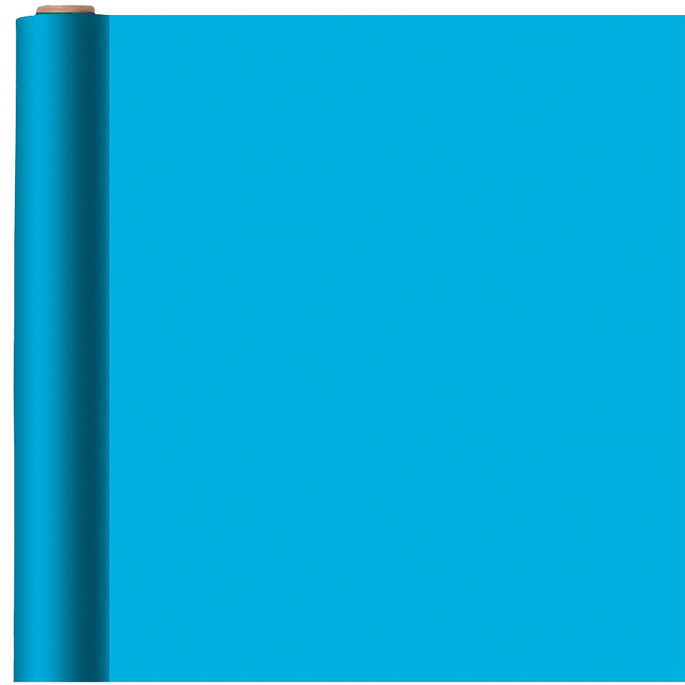 Jumbo Solid Caribbean Blue Gift Wrap Image #1