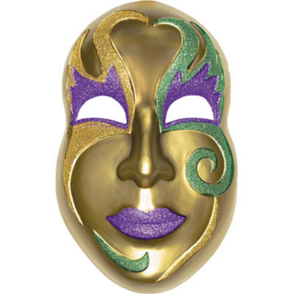 3D Gold Mardi Gras Mask Decoration Image #1