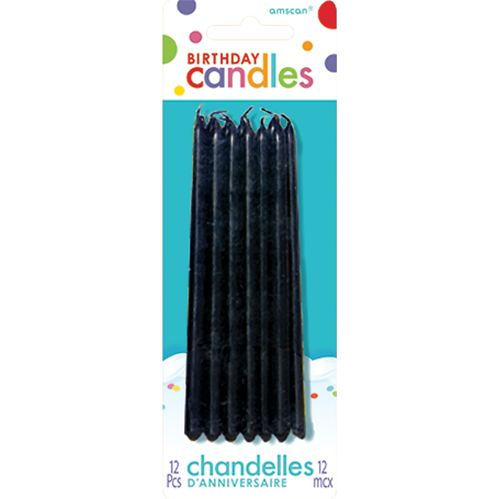 Tall Black Birthday Candles 12ct Image 1