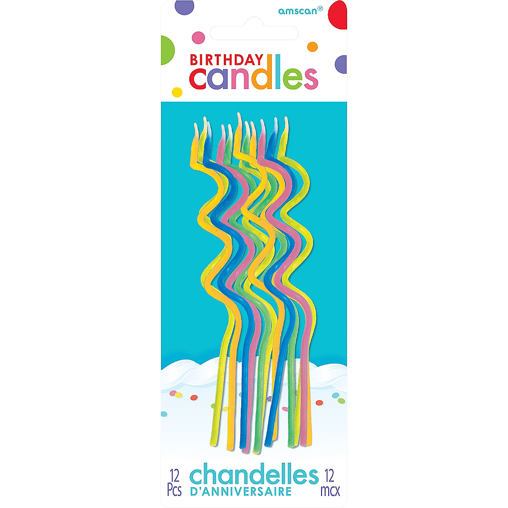 Tall Multicolor Bright Coil Birthday Candles 12ct Image #1