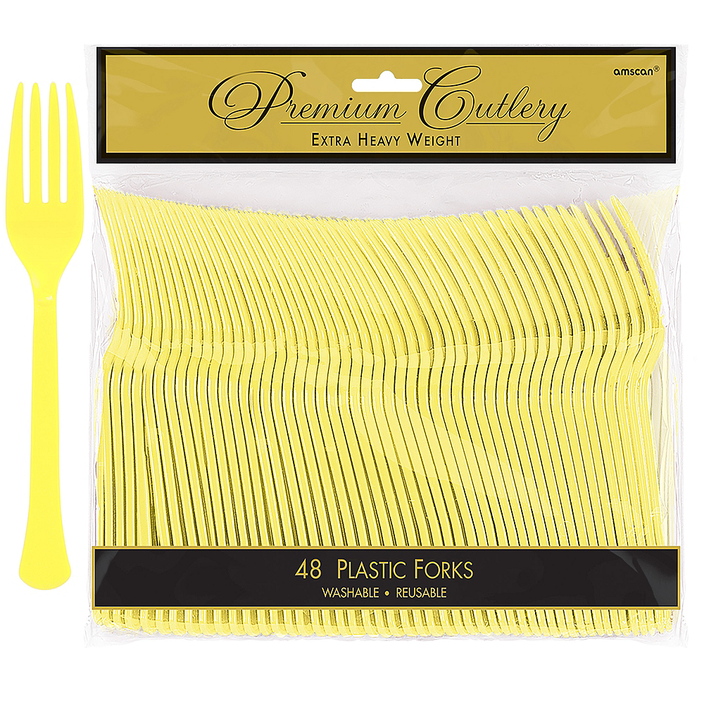 Light Yellow Premium Plastic Forks 48ct Image #1