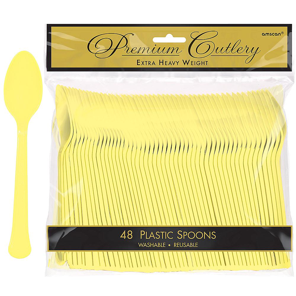 Light Yellow Premium Plastic Spoons 48ct Image #1