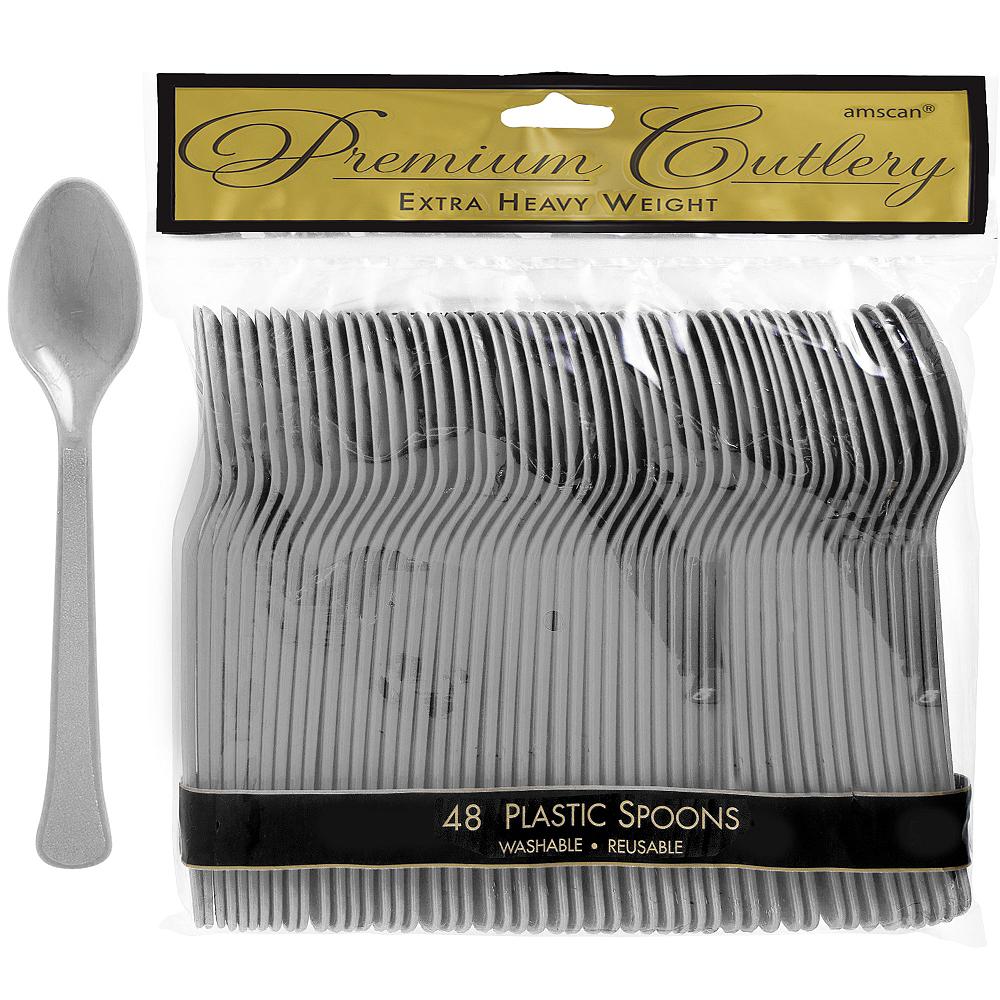Silver Premium Plastic Spoons 48ct Image #1