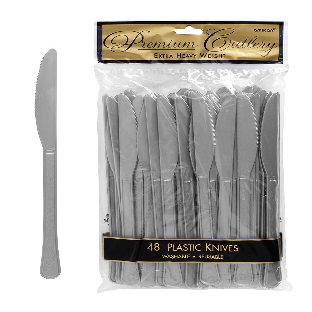 Silver Premium Plastic Knives 48ct Image #1