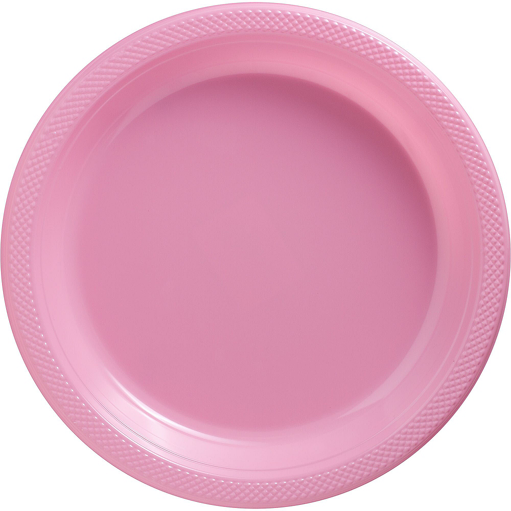 Pink Plastic Dinner Plates 20ct Image #1