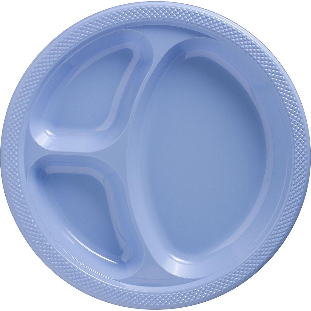 Pastel Blue Plastic Divided Dinner Plates 20ct Image #1