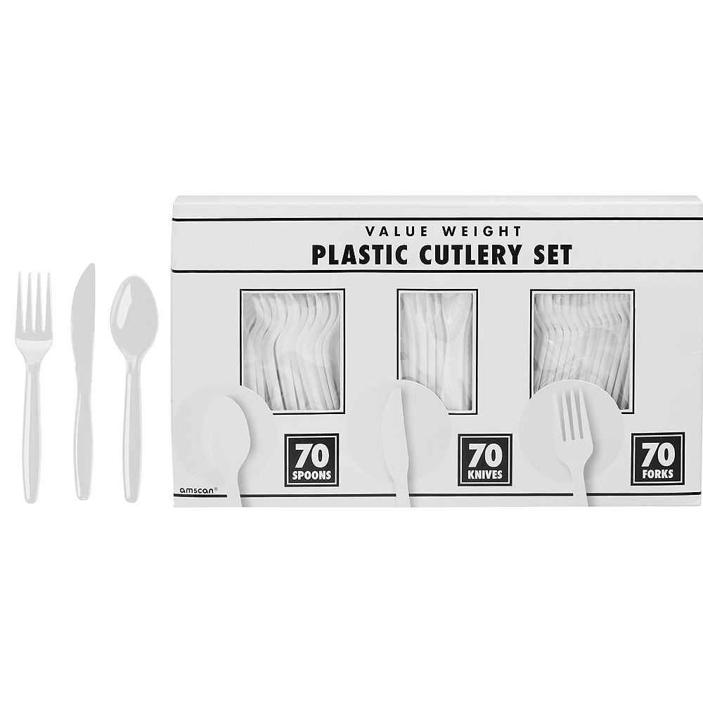 Big Party Pack White Plastic Cutlery Set 210ct Image #1