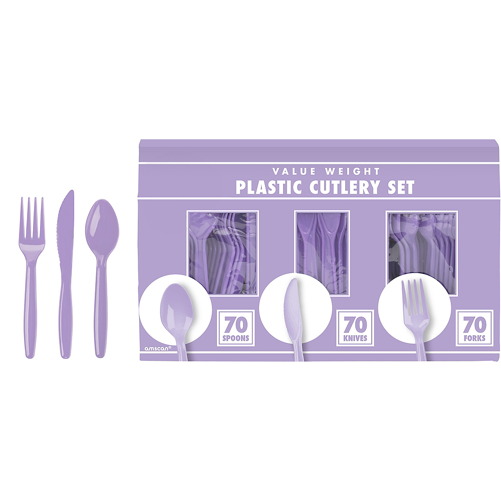 Big Party Pack Lavender Plastic Cutlery Set 210ct Image #1