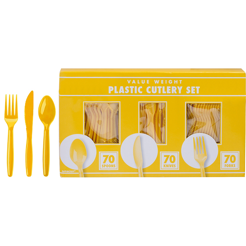 Big Party Pack Sunshine Yellow Value Plastic Cutlery Set 210ct Image #1